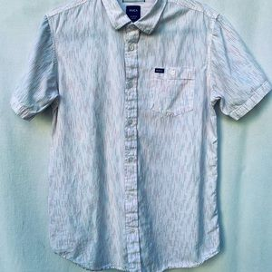 RVCA Men's White Button Down with Subtle Pattern